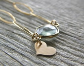 Moss Aquamarine and Gold Heart Necklace, Gold Chain Layering Necklace