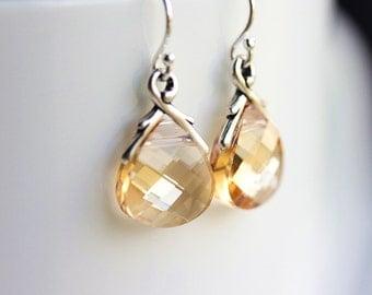 Swarovski Crystal Earrings-Sterling silver,vine Earrings,Briolette Earrings,Dazzling,Vine Jewelry,wedding,bridemaids,Gift for her,BFF,