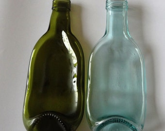 Recycled Slumped Set of Two Small Wine Bottle Bowl/Dish/Spoon Rests