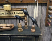 Miniature Dollhouse Murder of CROWS Statue Primitive Stand