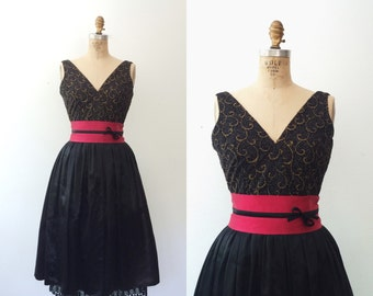 vintage party dress / satin evening dress / Gilded Party dress