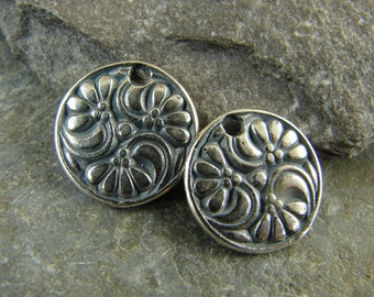 Sterling Silver 3 Flower Disk Charm - Antique Replica - One Pair - c3fd