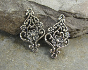 Vintage Style Earring Drops - Sterling Silver Charms - Sterling Silver Links - lvsed