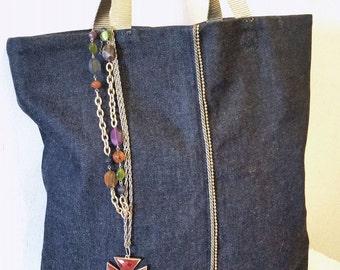 Vegan Tote Bag in Blue Denim, Bead Chain Trim Denim Tote Bag