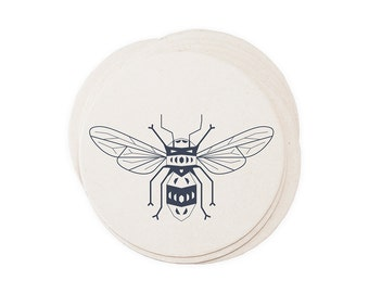 Honey Comb Bumble Bee - Letterpressed Paper Coasters