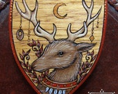 "Hand-Painted Wooden Heraldic Brooch - ""Moon Stag"""