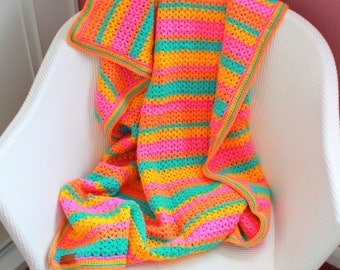 FREE SHIPPING Fruit Salad Crochet Baby Blanket - Granny Square - Lap TV Blanket - Pram Stroller Blanket - Sofa Throw 40 x 40
