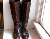 SALE 50% OFF  Crocodile Embossed Leather Riding Boots