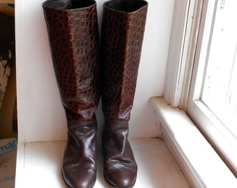 Crocodile Embossed Leather Riding Boots