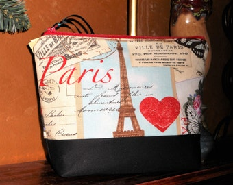I Love Paris Cosmetic / Make Up Pouch / Travel / Toiletry Bag / Organizer / Storage / Bridesmaid Gifts