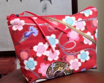 Asian Music in the Garden Red Make Up Pouch / Wristlet / Cell Phone Bag / Organizer
