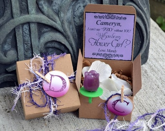 Ring POP ~ Will You Be My Flower Girl PURPLE Boxed Invite POP the Question Invitation Rustic Bridesmaid