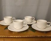 Espresso Syracuse Cup White Set of 4 with Saucer Plates Barista Syracuse USA Serving Coffee Ceeamic Mugs Demitasse