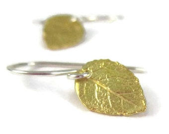 Gold Leaf Earrings Sterling Silver Tiny Dangle Earrings Woodland Mixed Metal Earrings Autumn Fall