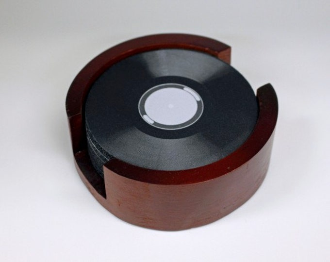 Vinyl Record Coaster Set of 5 with Wood Holder