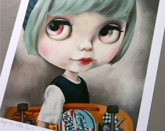 Blythe Doll art print - pastel blue hair skateboard girl