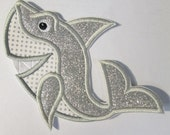 Happy Shark - Iron On or Sew On Embroidered Custom Made Applique -- Ships FAST
