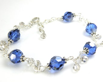 Navy Blue Crystal Bracelet, Sterling Silver, Sapphire Swarovski Crystal, Bridesmaid Wedding Jewelry, September Birthstone Birthday Gift