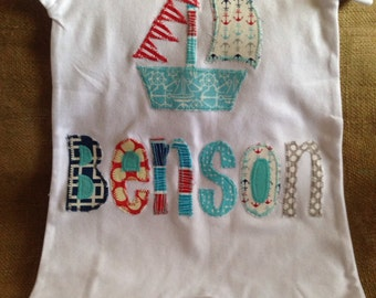 Personalized sailboat and name appliqué romper