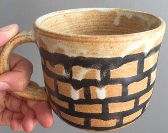 Brick Mug, Handmade Ceramics