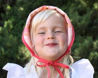 BEATRIX JONES ---x--- Little people sun Bonnet. limited edition . 'Tamarix Pinks' made from vintage fabrics - 2 - 4 yr