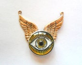 Artisan Vintage Czech Glass Intaglio Eye and Wings Pendant