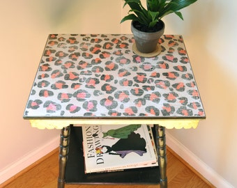 Black Accent Table with Leopard Detail