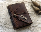 Reflections - Rustic Leather Journal, Burgundy, Aged Paper, Vintage Key, OOAK