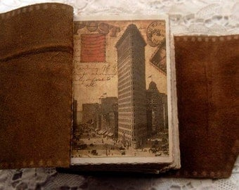 The New York Book - Rustic Leather Journal, Aged Paper, New York Theme, OOAK