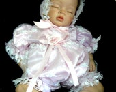 ROMPER  for REBORN  Doll or BABY White Tulle Embroidered pearls Pink Satin Lining size 0-3 month
