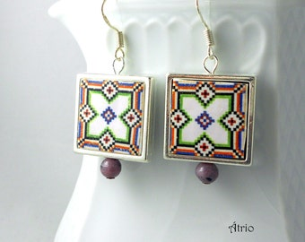 Silver Earrings Portugal  Tile Azulejo Portuguese Antique FRAMED - BRAGA Geometric! (see actual Facade photo)  Gift Boxed Ships from USA 676
