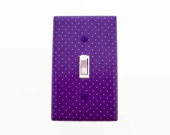 Purple Light Switch Cover - Polka Dots Girls Nursery Decor - Girls Purple Bedroom Switch Plate - Purple White Dots Switch Plate - Swiss Dots