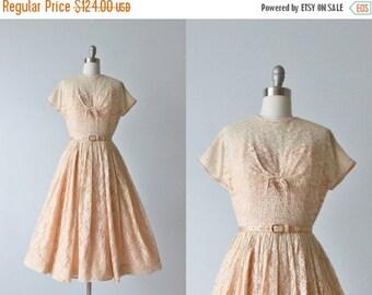 SALE 1950s Dress / Pink Lace Dress / Tea Length / Illusion Bodice / Blush Pink
