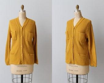 Vintage 1980s Golden Mustard  Knit Oversized Collegiate Cardigan Sweater / Wool Sweater