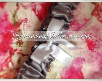 Luxe Satin Bridal Garter...You Choose the Colors....shown in charcoal/silver gray