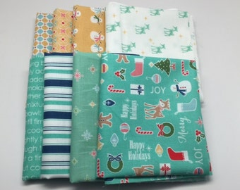 SUMMER SALE - Fat Quarter Bundle (8) - Mint and Yellow - Cozy Christmas - Riley Blake Designs - Lori Holt