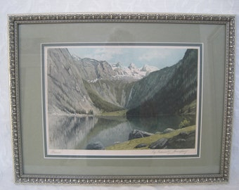 Vintage Etching Abersee Austria Austrian Alps Signed in Pencil Matted and Framed