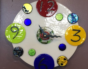 Fused glass clock Etsy