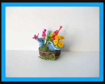 Dollhouse miniature Dragons play in the Spring flowers witch OOAK