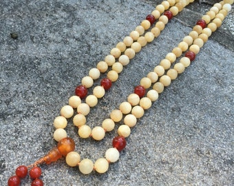 Yellow Calcite 108 Bead Mala Necklace