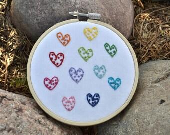 "Hand Embroidered Hoop Art. Mini Rainbow Hearts. Valentines Day Decor. 4"" Wood Hoop"
