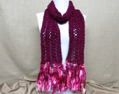 Knit Scarf in Burgundy Chenille - Ready To Ship Eggplant Maroon Long Fringe Women's Girl's Scarf