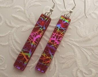 Rainbow Earrings - Dichroic Fused Glass Earrings - Long Earrings - Stick Earrings - Fashion Acessories - Dangle X4284
