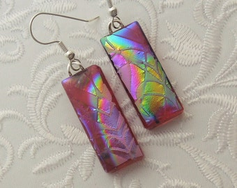 Bohemian Earrings - Boho Earrings - Dichroic Fused Glass Earrings - Etched Glass - Zen - Zentangle - Fused Glass - Dichroic Glass 2048