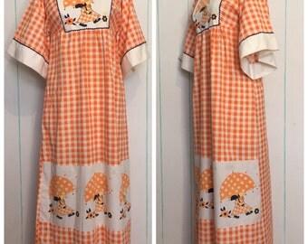 70s Orange Maxi Checkered Doll Print Dress Size  0 - 2