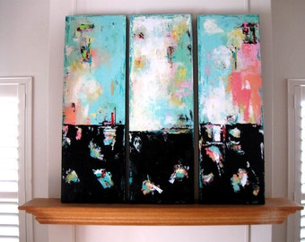 "Abstract Triptych, original Acrylic Panel Paintings on canvas, Modern Home Decor, 36"" x 36"", wall hanging, office decor, gift idea"