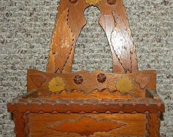 Surprise SALE - Antique Tramp Art Hearts Comb Box