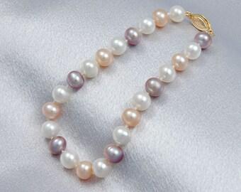 """AA Multicolor Freshwater Pearl Bracelets 6-8mm Multicolor Pearl Bracelet 7.5"""" Gemstone Bracelets Bridal Bracelets Free Shipping"""
