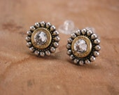 Bullet Jewelry - Petite 25 Auto Bullet Casing Beaded Bezel Studs with Diamond Swarovski Crystals - A SureShot Exclusive