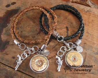Bullet Jewelry - Shotgun Casing Jewelry - 12 Gauge Thick Double Wrap Braided Leather Charm Bracelet - A SureShot Exclusive Design!